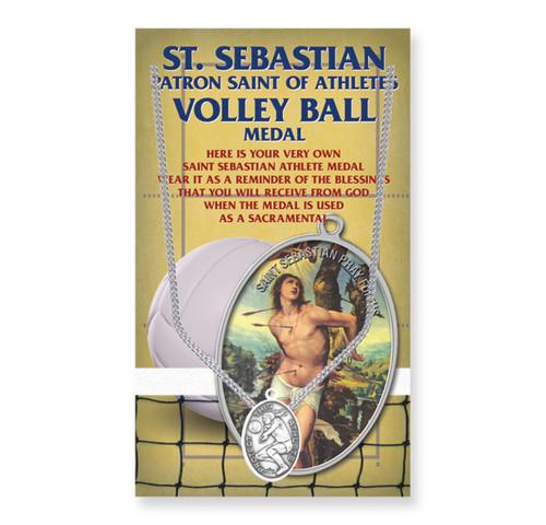 "Saint Sebastian Women's Oval Volleyball Medal | 18"" Chain"