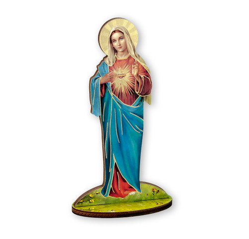 "6"" Immaculate Heart of Mary Wood Statue"