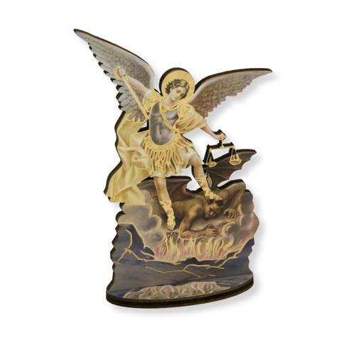 "6"" Saint Michael the Archangel  Wood Statue"