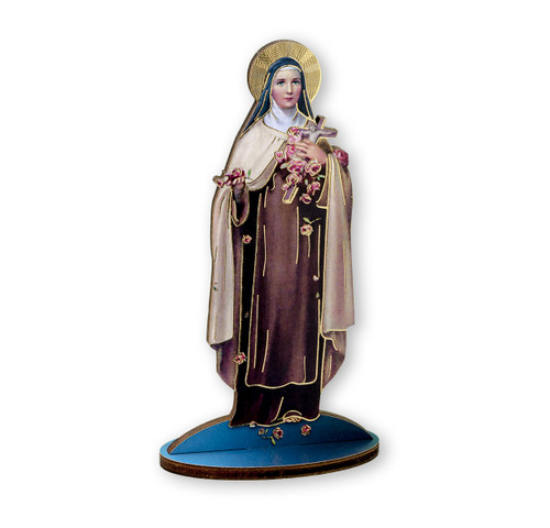 """6"""" Saint Therese of Liseaux Wood Statue"""