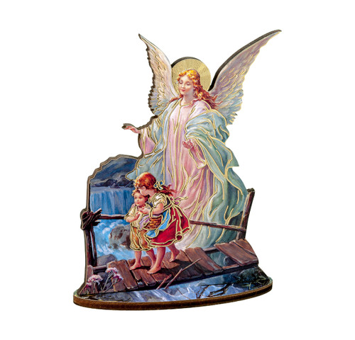 "6"" Guardian Angel Wood Statue"