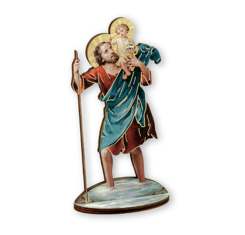 "6"" Saint Christopher with Jesus Wood Statue"
