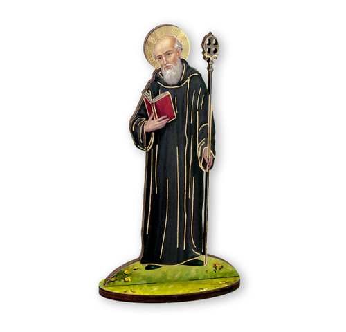 "6"" Saint Benedict Wood Statue"