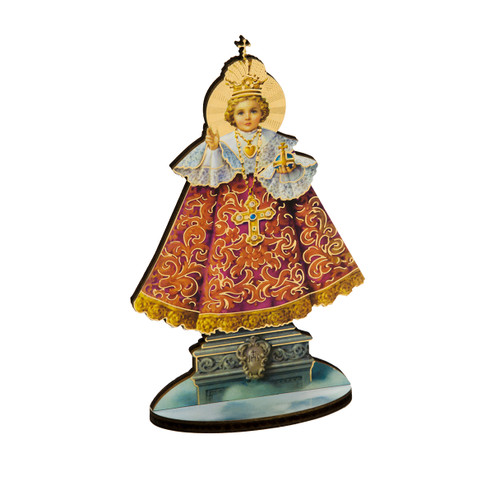 "6"" Infant of Prague Wood Statue"