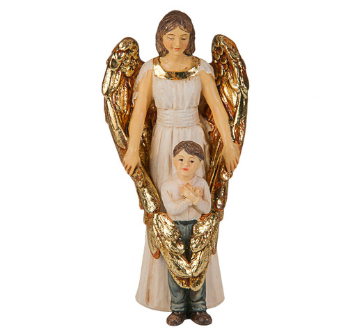 """4"""" Guardian Angel with Boy Resin Statue"""