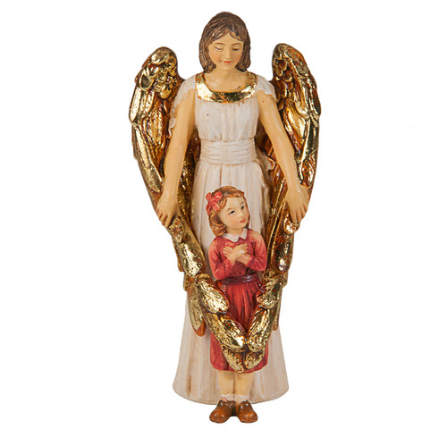 """4"""" Guardian Angel with Girl Resin Statue"""