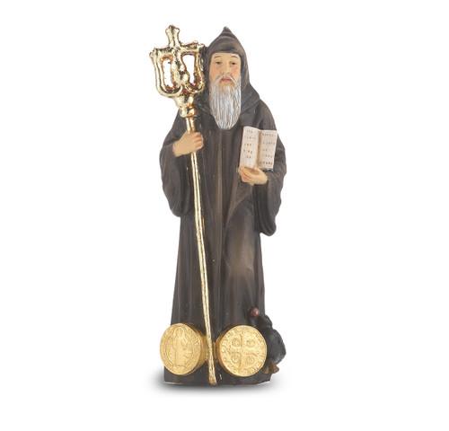 """4"""" Saint Benedict the Abbott Resin Statue"""