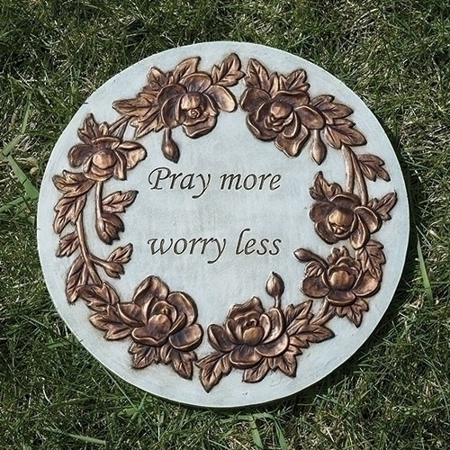 """9"""" Pray More, Worry Less Garden Stepping Stone"""