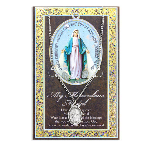 "Miraculous Medal Biography Pamphlet and Patron Saint Medal | 18"" Chain"