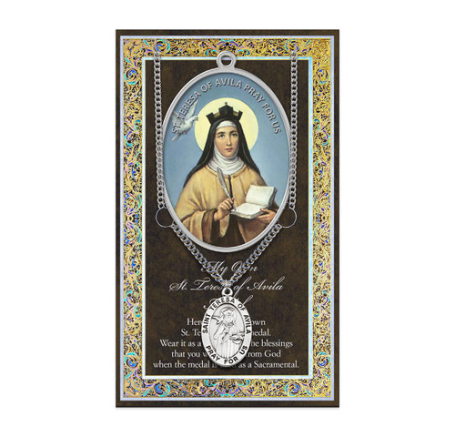 Saint Teresa of Avila Biography Pamphlet and Patron Saint Medal