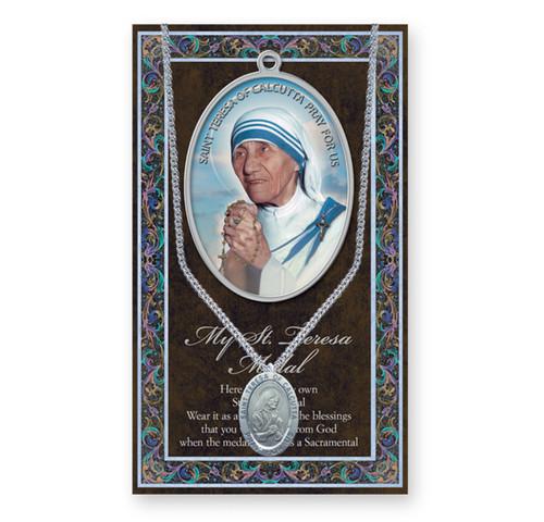 Saint Teresa of Calcutta Biography Pamphlet and Patron Saint Medal
