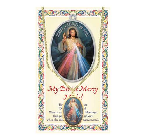 Divine Mercy/Saint Faustina Patron Saint Enameled Medal