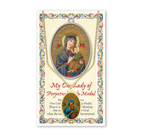 Our Lady of Perpetual Help Patron Saint Enameled Medal