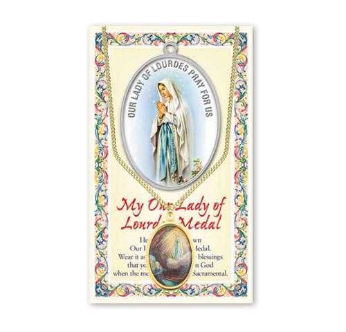 Our Lady of Lourdes Patron Saint Enameled Medal