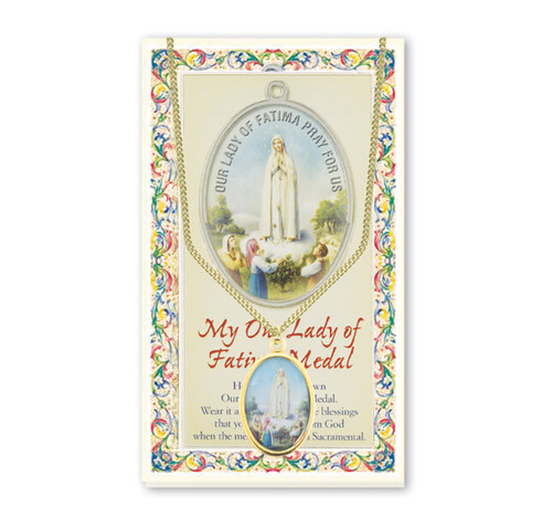 Our Lady of Fatima Patron Saint Enameled Medal