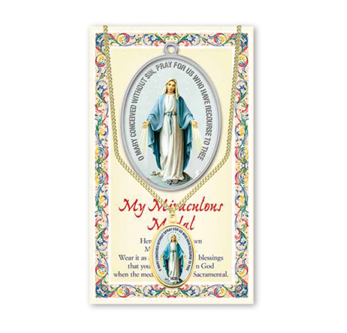 Miraculous Medal Patron Saint Enameled Medal