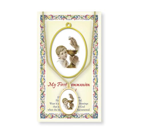 Boys First Communion Patron Saint Enameled Medal