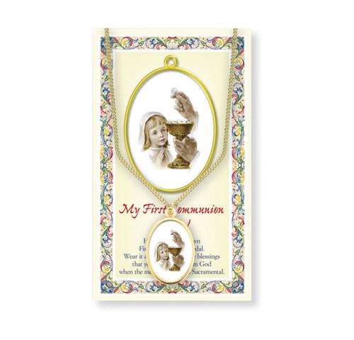 Girls First Communion Patron Saint Enameled Medal