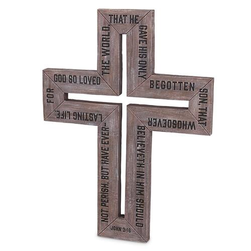 "16"" Barn Cross with Engraved John 3:16"