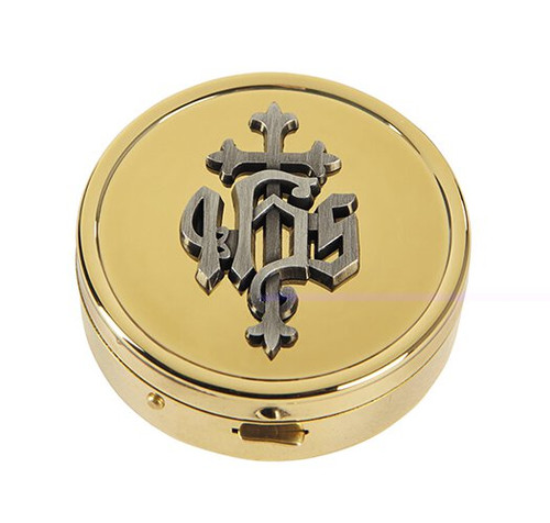 IHS Pyx | Solid Brass | Holds 8 Hosts
