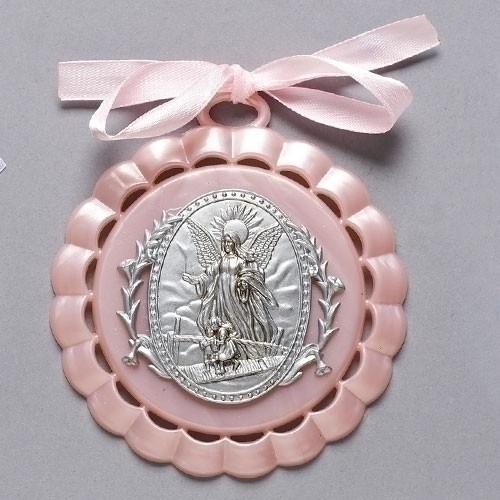 "4.25"" Guardian Angel Crib Medallion | Gift Boxed | Pink"