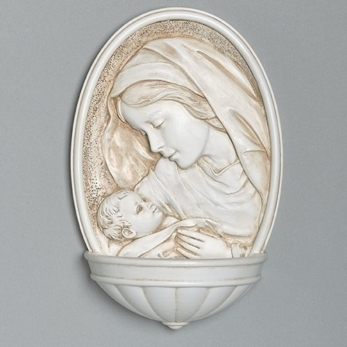 "8"" Madonna & Child Holy Water Font 