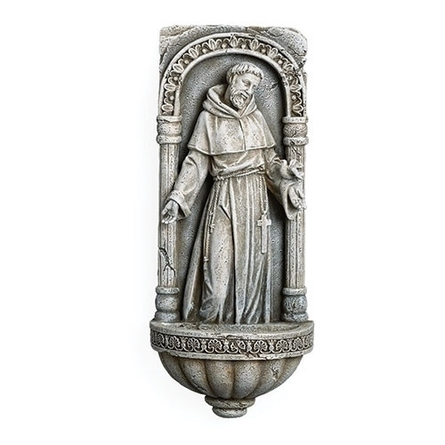 "10"" St. Francis Holy Water Font 