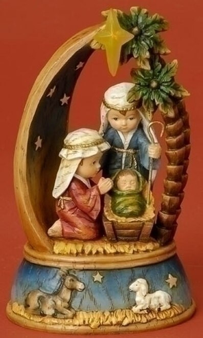 """8"""" Holy Family Pageant Nativity Scene with LED Star Light   Resin"""