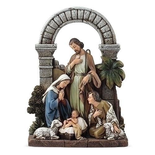 "8.5"" Holy Family Nativity with Shepherd | Resin/Stone"