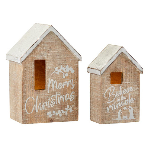 Merry Christmas Decorative Wooden Houses   LED Candles Included
