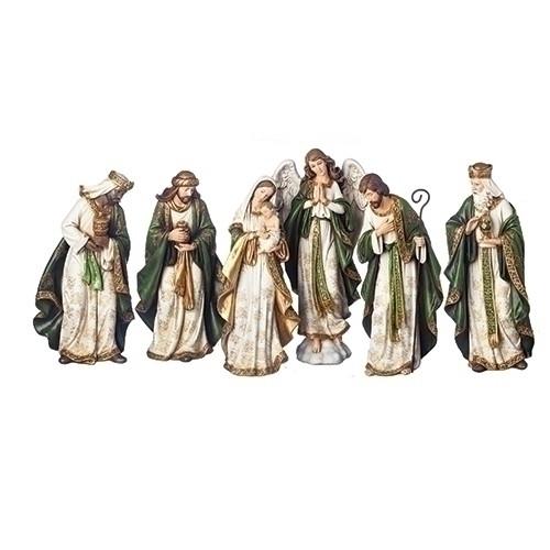 "13.5"" Olive & Gold Nativity Scene Set | 6 Pieces"