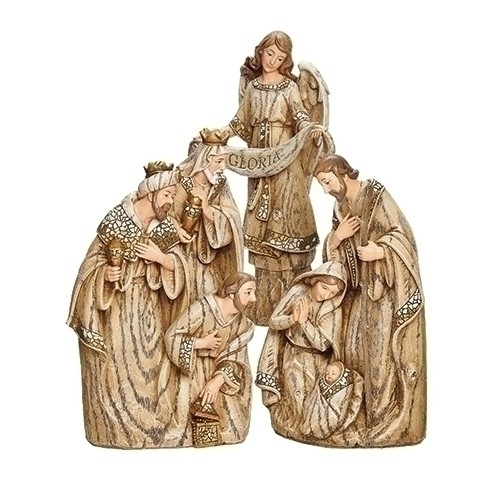 "10"" Mosaic ""Wood Carved"" Nativity Set 