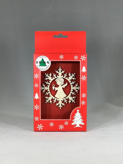 Angel with Candle in Snowflake Ornament | Laser Cut Wood | Made in Italy