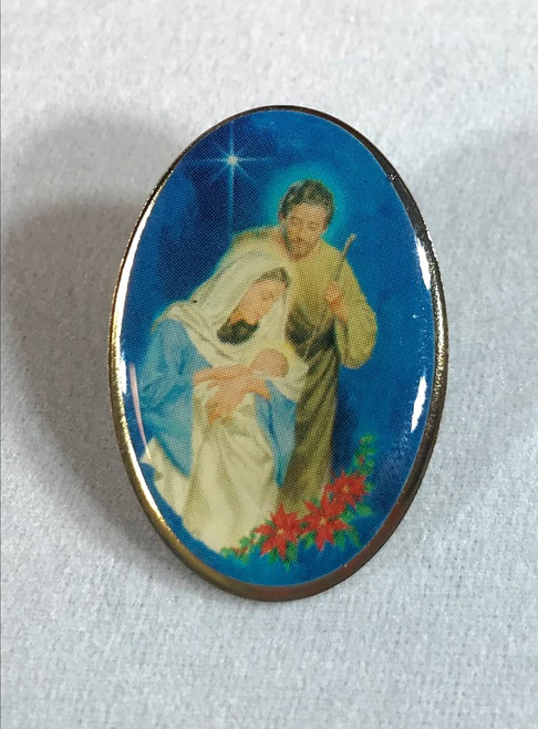 """1-1/8"""" Holy Family Christmas Pin 