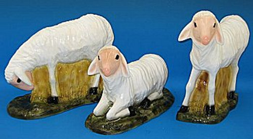 Set of 3 Sheep Indoor/Outdoor Nativity Figures | Industrial-Grade Plastic | Multiple Finishes Available