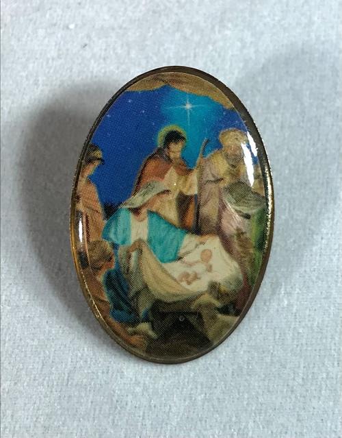 "1-1/8"" Nativity Scene Christmas Pin"
