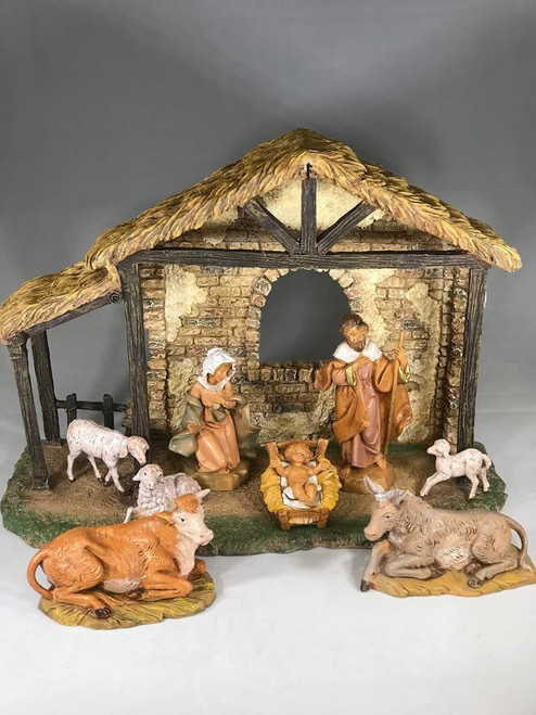 "5"" Italian Fontanini Nativity Full Set | 8 Pieces | Resin Stable"