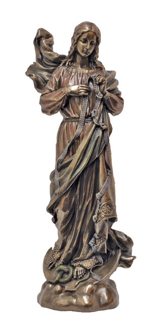 "8"" Mary, Undoer/Untier of Knots Statue | Cold-Cast Bronze"