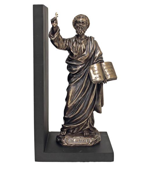 "9.5"" St Peter Bookend Figure | Cold-Cast Bronze"