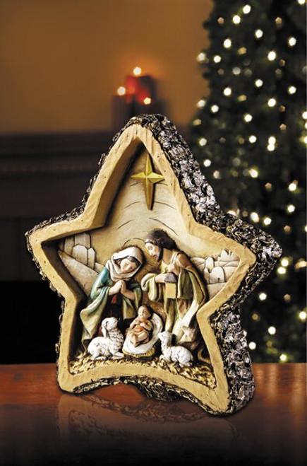 "8"" Woodgrain Star Nativity | Resin"
