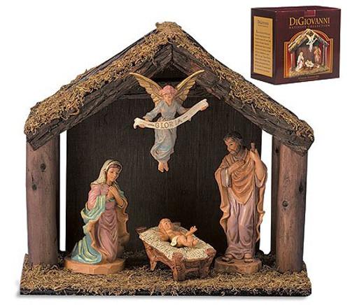 "6"" Nativity Set Starter Kit   4 Pieces   Wood Stable"