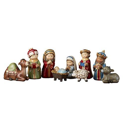 "4"" Children's Christmas Pageant Nativity Set   9 Pieces   Resin"