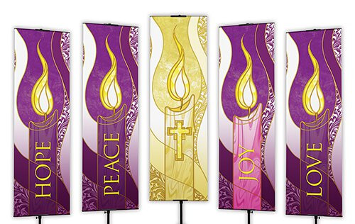 Purple Advent Banners | 2' x 6' | Set of 5