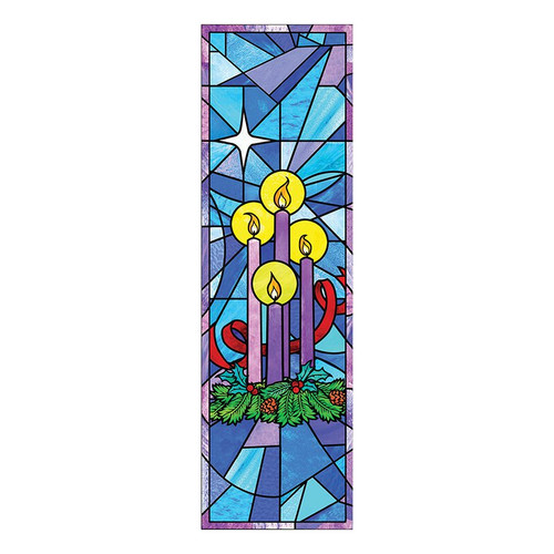 Stained Glass Advent Candle Banner | 2' x 6'