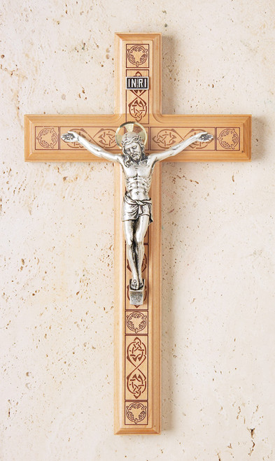 "11"" Maple Crucifix with Engraved Celtic Pattern"