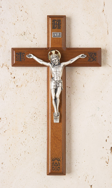 "11"" Walnut Crucifix with Engraved IHS Pattern"