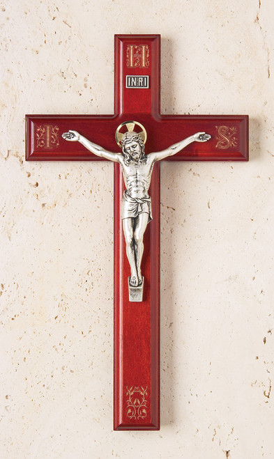"11"" Rosewood Crucifix with Engraved IHS Pattern"