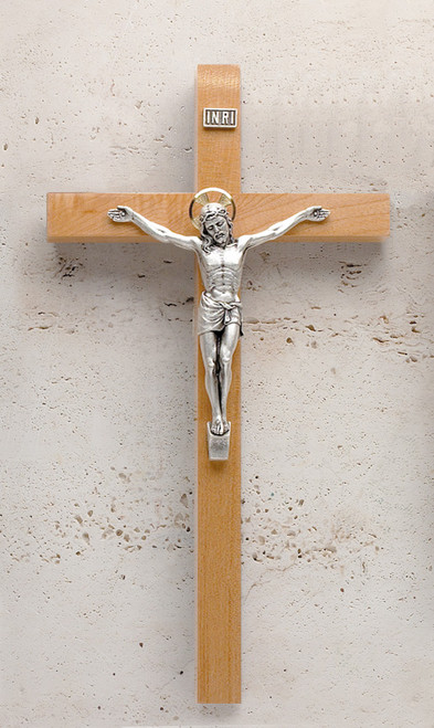 "12"" Maple Crucifix with Silver-plated Crucifix"