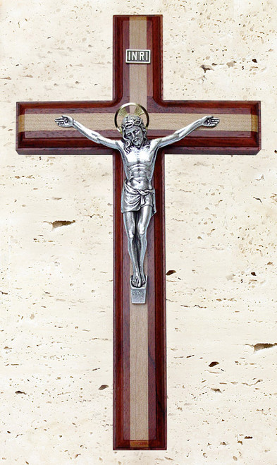 "11"" Rosewood Crucifix with Maple Inlay"