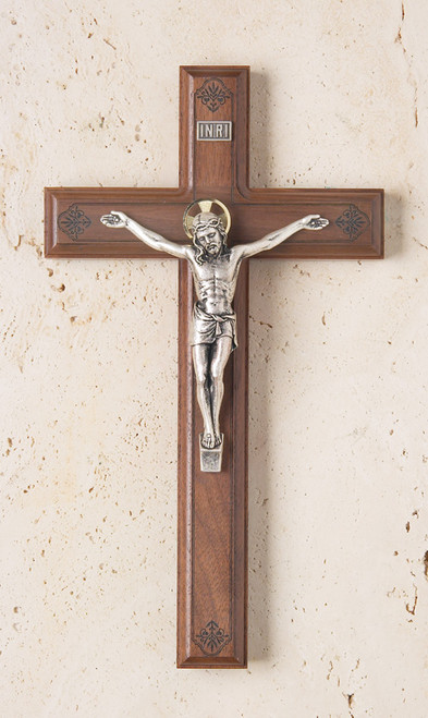 "11"" Walnut Crucifix with Engraved Pattern"